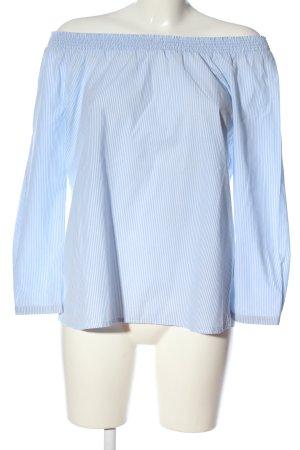Esprit Carmen-Bluse blau-weiß Allover-Druck Casual-Look