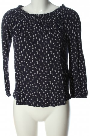 Esprit Carmen-Bluse schwarz-wollweiß Allover-Druck Casual-Look