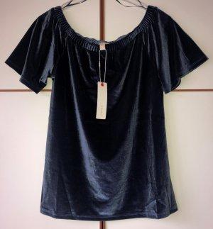Esprit Carmen Shirt Samt Gr. S blau, royalblau Neu