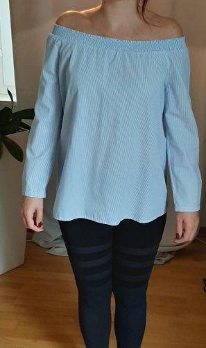 Edc Esprit Bluzka typu carmen biały-błękitny Bawełna