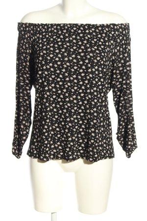 Esprit Carmenshirt schwarz-creme Allover-Druck Casual-Look