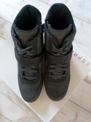 Esprit Casual High Top Sneaker Wedges Gunmetal Gr.37