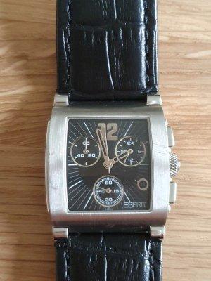 Esprit Chronograph Armbanduhr - Uhr mit Lederarmband schwarz