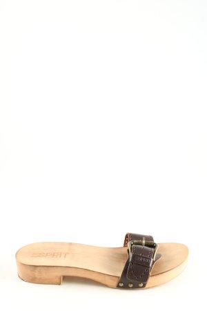 Esprit Clog Sandalen schwarz-creme Casual-Look
