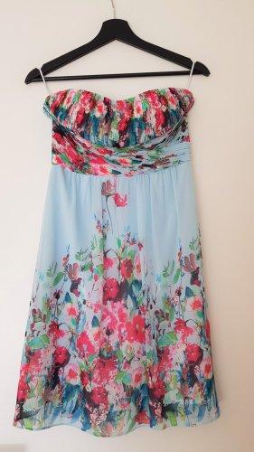 Esprit Cocktailkleid, Sommerkleid, Blumen, hellblau, Größe 34