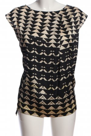 esprit collection ärmellose Bluse schwarz-creme Allover-Druck Business-Look