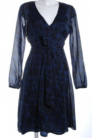 esprit collection Blusenkleid blau-schwarz Allover-Druck Casual-Look