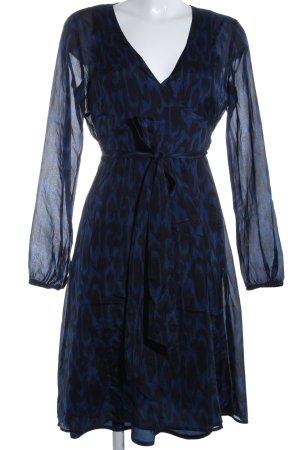 esprit collection Blusenkleid blau-schwarz Allover-Druck Casual-Look