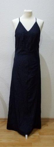 Esprit Collection: fließendes, dunkelblaues Maxikleid mit weißen Pünktchen in Größe 36