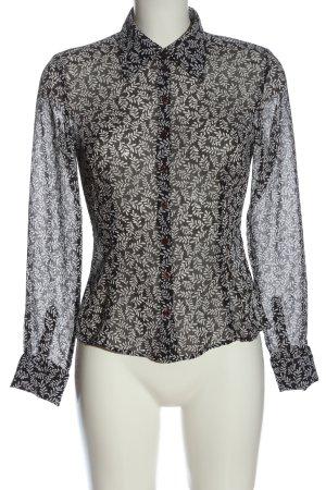 esprit collection Hemd-Bluse schwarz-weiß Allover-Druck Casual-Look