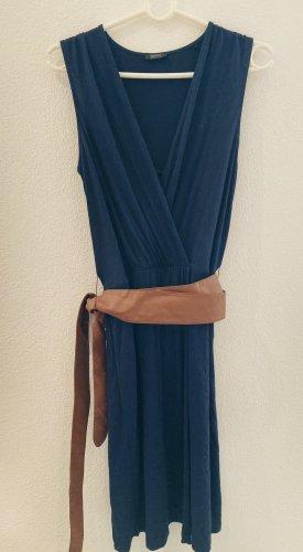 Esprit Collection - Kleid in blau mit braunem Gürtel