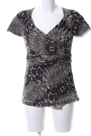 esprit collection Kurzarm-Bluse schwarz-weiß abstraktes Muster Casual-Look