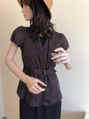 Esprit Collection Kurzarm Bluse braun Baumwolle 34