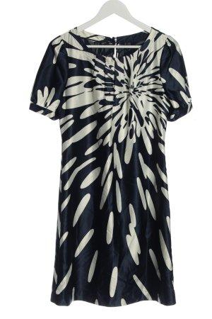 esprit collection Kurzarmkleid blau-wollweiß abstraktes Muster Casual-Look