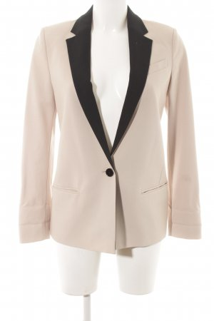 esprit collection Long-Blazer creme-schwarz Boyfriend-Look