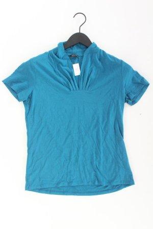 Esprit Collection Shirt mit V-Ausschnitt Größe M Kurzarm blau aus Viskose