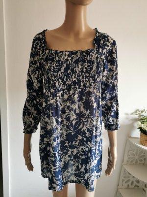 Esprit Damen Tunika Bluse geblümt blau grau Größe 36