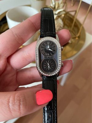 Esprit Zegarek ze skórzanym paskiem czarny-srebrny Skóra