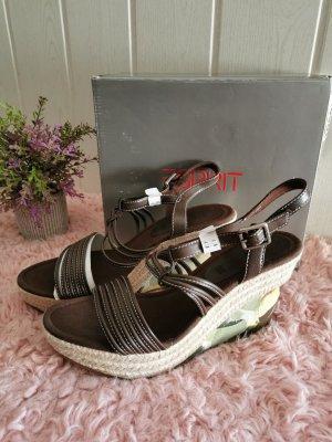 Esprit Damen Wedges Lisa Keilabsatz Sandaletten bunt Größe 41 NEU
