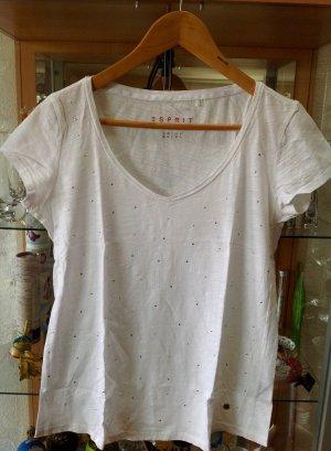 Esprit Damenshirt weiss mit metallsteinchen