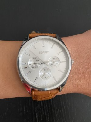 Esprit Watch With Leather Strap cognac-coloured-brown