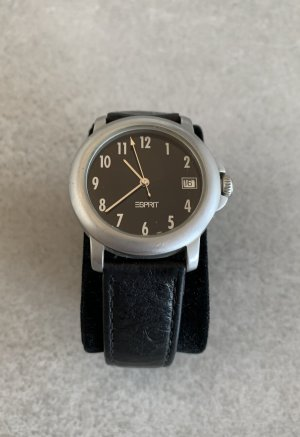 Esprit Watch With Leather Strap black-silver-colored