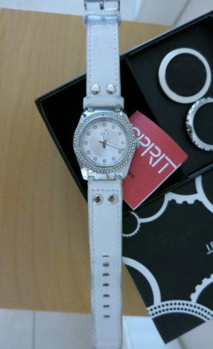 Esprit Damenuhr mit weißem Lederarmband und 3 Ringen