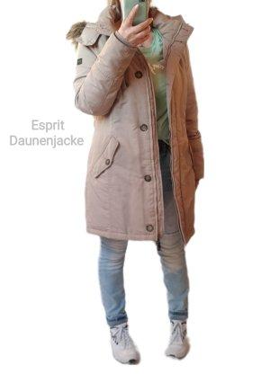 Esprit Daunenjacke Beige Jacke Lang Warm Daunen Winter Look. 38 - Neuwertig