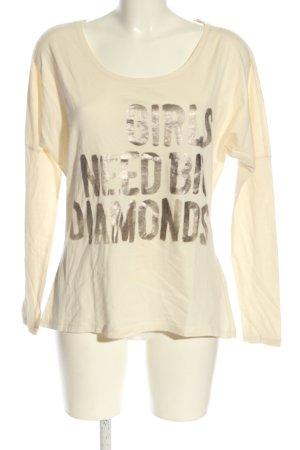 Esprit Denim Oversized Shirt creme-bronzefarben Schriftzug gedruckt Casual-Look