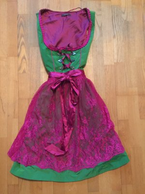 Esprit Vestido Dirndl rosa neón-verde neón Poliéster