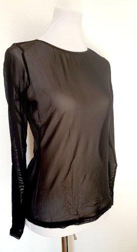 Esprit durchsichtiges Langarmshirt Netzshirt langärmelig schwarz Gr M 38