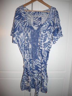 Esprit Blouse longue blanc-bleu acier