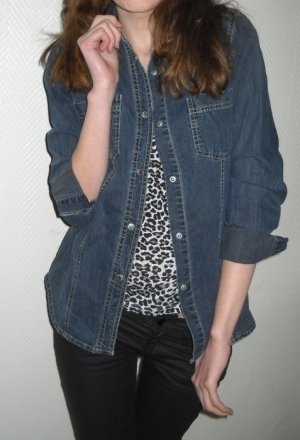 Esprit EDC Jeanshemd Langarm Bluse Hemd Jacke dunkel jeans blau XS S H M 34 36