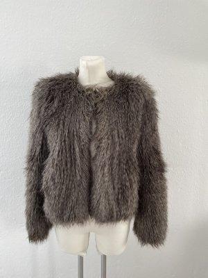 Esprit Fake Fur Felljacke gr 38 grau braun