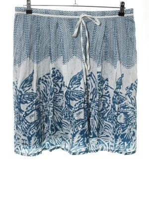 Esprit Faltenrock blau-weiß abstraktes Muster Casual-Look