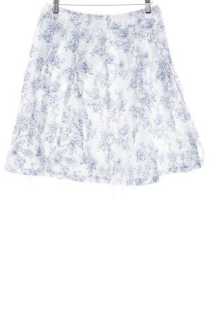 Esprit Faltenrock weiß-blau florales Muster Casual-Look