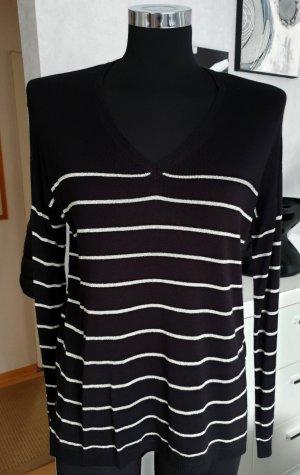 ESPRIT Feinstrick V-Pullover mit Glanzringeln schwarz-silber XS / S Neuwertig