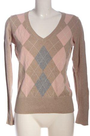 Esprit Feinstrickpullover braun-pink grafisches Muster Casual-Look