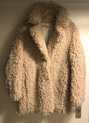 ESPRIT Fell Mantel Fake Fur Teddy Jacke M L 38 40 Kunstfell Kurzmantel Plüsch