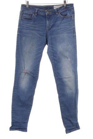 Esprit Five-Pocket-Hose stahlblau meliert Used-Optik