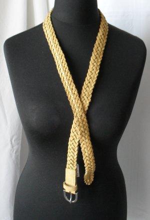 Esprit Flechtgürtel Gürtel Gr. 95 cm geflochten aus Leder gelb