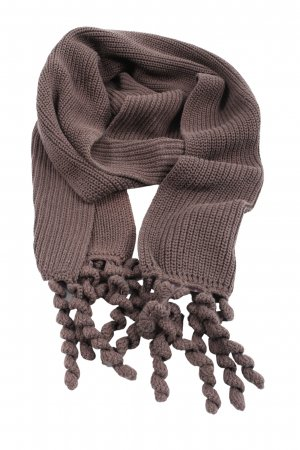 Esprit Fringed Scarf brown cable stitch casual look