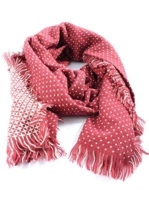 Esprit Bufanda de flecos rojo-blanco estampado repetido sobre toda la superficie