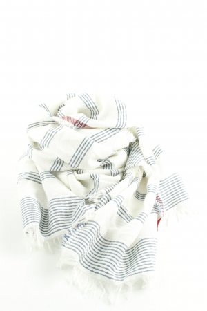 Esprit Fringed Scarf natural white-blue striped pattern casual look