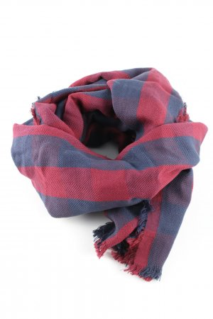 Esprit Fringed Scarf blue-red check pattern casual look