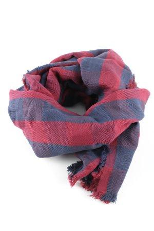Esprit Fransenschal blau-rot Allover-Druck Casual-Look