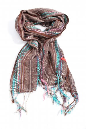 Esprit Fringed Scarf brown-turquoise casual look