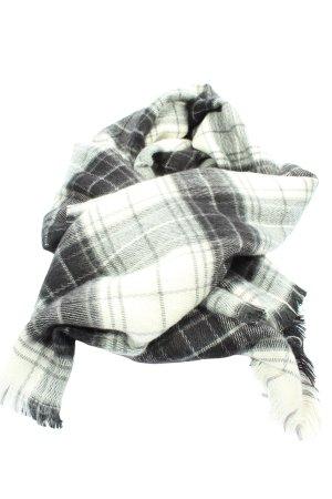 Esprit Écharpe à franges blanc-noir imprimé allover style décontracté