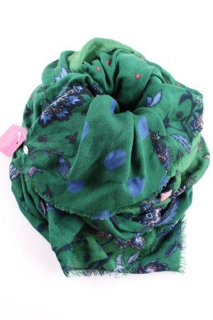 Esprit Fransenschal grün Blumenmuster Casual-Look