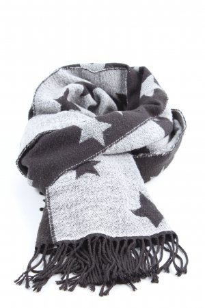 Esprit Fringed Scarf light grey-black themed print casual look